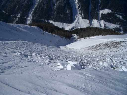 Taferna avalanche: transition from starting area to track